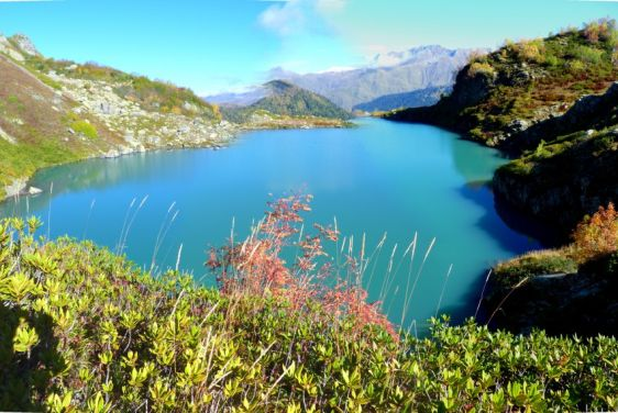 Живописный вид на Ацетукские озёра в окружении цветущих берегов