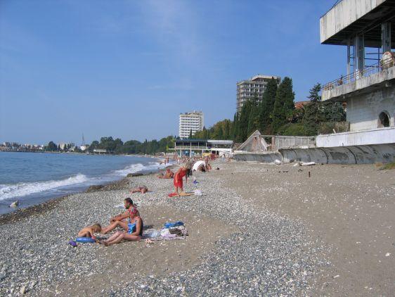Пляж санатория ''МВО'' в Сухуми
