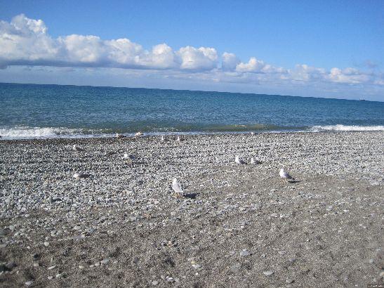 В октябре по сочинским пляжам наконец можно пройтись в гордом одиночестве, а в хорошую погоду, если позволяет здоровье, можно и окунуться