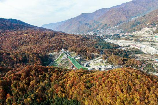 Склоны Красной поляны в октябре покрываются пестрым покрывалом из разноцветных лисьтев