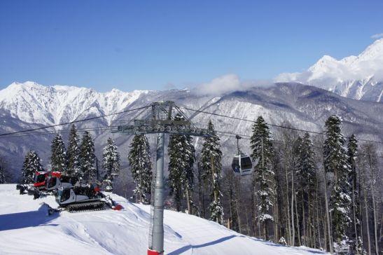 В марте на горнолыжном курорте в Сочи разгар сезона